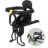mewmewcat Sicherheit Kindersitz vorne für Fahrrad Kindersattel Fahrrad Babytrage für Fahrrad mit Pedalen Unterstützung Zurück Aluminiumlegierung Schwarz Bis zu 25 kg Von 8 Monaten bis 7 Jahren