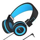 Kinder Kopfhörer - Kabel Kopfhörer für Kinder, verstellbares Stirnband, Stereo Sound, Faltbare, entwirrte Drähte, 3,5 mm Aux Jack, Volume Limited - Kinder Kopfhörer auf Ohr, blau