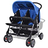 Nishore Baby Zwillingswagen Klappbar Zwillingskinderwagen Kinderwagen geeignet für Babys und Kleinkinder Regenschutzhaube 3 Positionen verstellbar