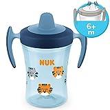 NUK Trainer Cup 230 ml, weiche Trinktülle, auslaufsicher, ab 6 Monaten, BPA-frei, 1 Stück (Tiger, blau)
