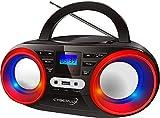 Tragbarer CD-Player   LED-Discolichter   Boombox   CD/CD-R USB Player   FM Radio   AUX-In   Kopfhöreranschluss   20 Speicherplätze   Kinder Radio   CD-Radio   Kompaktanlage