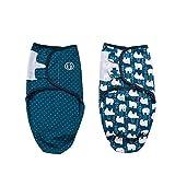 Baby Pucksack Wickel-Decke - 2er Pack Universal Verstellbare Schlafsack Decke für Säuglinge Babys Neugeborene Unisex (3-4 Monate, Blau)