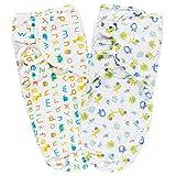 Lictin Pucksack Pucktuch Baby Strampelsack aus 100% Baumwolle 2PCS Pucksack Baby für Neugeborene von ca. 0-6 Monaten ideal für warme Sommermonate