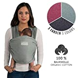 Laleni Tragetuch Baby, Babytragetuch - Babytrage für Neugeborene, 100% Bio-Baumwolle, elastisch bis 15kg