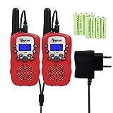 Upgrow T-388 Walkie Talkie Funkgerät für Kinder mit Wiederaufladbaren Akkus, Kinder Funkgerät PMR446 Funk Handy, 8 Kanäle mit LCD-Display (Rot)