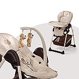 Hauck Sit'n Relax Newborn Set – Neugeborenen Aufsatz und Kinderhochstuhl ab Geburt, mit Liegefunktion / inkl. Spielbogen, Tisch, Rollen / höhenverstellbar, mitwachsend, klappbar, Zoo (Braun)