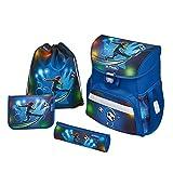 herlitz 50007950 Schulranzen Loop Plus, Klickschloss, ergonomisches Rückenpolster, 16-teiliges Schüleretui, Sportbeutel, Faulenzer rund, Motiv: Soccer, 1 Stück