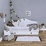 LULU Kinderbett SOPHIE Komplett - Bett mit Matratze 160x80 Lattenrost und Schublade | für Kinder ab 2 jahren | Mädchen Junge | Jugendbett Juniorbett Kinderzimmer Funktionsbett | Weiß