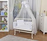 WALDIN Baby Beistellbett komplett mit Ausstattung, höhen-verstellbar, Buche Massiv-Holz weiß lackiert, 16 Modelle wählbar,Sterne grau/blau