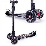 BAYTTER Kinderscooter Dreirad mit verstellbarem Lenker Kinderroller Roller Scooter LED Blinken für Kinder ab 3 4 5 Jahren, bis 100kg belastbar (Modell A in Schwarz)