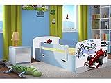 Kocot Kids Kinderbett Jugendbett 70x140 80x160 80x180 Blau mit Rausfallschutz Matratze Schublade und Lattenrost Kinderbetten für Junge - Formel 160 cm