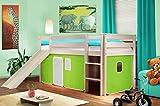 SixBros. Hochbett Kinderbett Spielbett mit Rutsche Massiv Kiefer Weiß - Grün/Weiß - SHB/41/1032