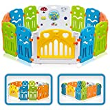 Baby Vivo Laufgitter Laufstall Baby Absperrgitter Krabbelgitter Schutzgitter für Kinder aus Kunststoff mit Tür und Spielzeug - Colors