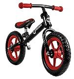 Lionelo Fin Plus Laufrad ab 2 Jahre, Kinderfahrrad aus Stahl mit Eva Rädern 12 Zoll, Lenker-und Sattelhöhenverstellbar, Balance Bike für Jungen und Mädchen (SCHWARZ/ROT)
