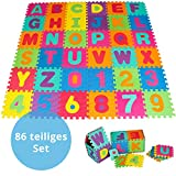 Panorama24 Puzzlematte für Babys und Kinder, Spielteppich Spielmatte Lernteppich Kinderspielteppich Schaumstoffmatte Matte bunt, 86 TLG. ca. 180x180 cm