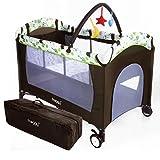 Froggy Kinderreisebett Babybett mit Schlafunterlage, Wickelauflage, Spielbogen, Transporttasche, höhenverstellbar, 120 x 60 cm in Braun