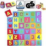 KIDUKU 86 teilige Puzzlematte TÜV Rheinland Zertifiziert Kinderspielteppich Spielmatte Spielteppich Schaumstoffmatte Kinderteppich, Zahlen und Buchstaben, Maß je Matte ca. 31,5 x 31,5 cm