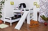 Etagenbett/Spielbett Moritz L Buche Vollholz massiv weiß lackiert mit Regal und Rutsche, inkl. Rollrost - 90 x 200 cm, teilbar