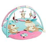 Fehn 081657 3-D-Activity-Decke Esel – Spielbogen mit 5 abnehmbaren Spielzeugen für Babys Spiel & Spaß von Geburt an – Maße: Ø85cm