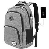AUGUR Laptop Rucksack Business Rucksack für 15.6 zoll Laptop Schulrucksack mit USB-Ladeanschluss für Arbeit Wandern Reisen Camping,für Herren,Oxford,20-35L