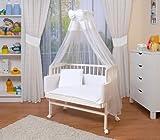 WALDIN Baby Beistellbett mit Matratze und Nestchen, höhen-verstellbar, 16 Modelle wählbar, Buche Massiv-Holz weiß lackiert, weiß