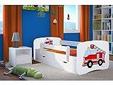 Kocot Kids Kinderbett Jugendbett 70x140 80x160 80x180 Weiß mit Rausfallschutz Matratze Schublade und Lattenrost Kinderbetten für Mädchen und Junge - Feuerwehr 180 cm