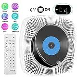 Tragbarer CD Player,LeTaocity Wandmontierbar Bluetooth Eingebaute HiFi-Lautsprecher für Kinder,FM-Radio die Heim-Audio-Boombox mit Fernbedienung, USB Mp3 3,5mm Kopfhöreranschluss,AUX-Eingang(weiß)