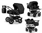 Zwillingswagen Mikado Kinderwagen - 3 in 1- Set Wanne Buggy Babyschale Schwarz