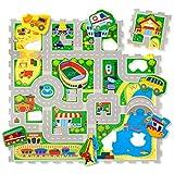 City Puzzlematte für Kinder 1,2x1,2m | 16 Schaumstoffplatten mit Straßen und Fahrzeuge in einer Aufbewahrungstasche | +20% dickere, wärmere Spielmatte | Schadstofffrei, Geruchlos, TÜV Formamid geprüft