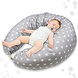 Stillkissen Schwangerschaftskissen zum Schlafen Seitenschläferkissen - Lagerungskissen groß Pregnancy Pillow Stillmond für Mutter und Baby grau