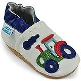 Juicy Bumbles - Weicher Leder Lauflernschuhe Krabbelschuhe Babyhausschuhe mit Wildledersohlen. Junge Mädchen Kleinkind- Gr. 18-24 Monate (Größe 24/25)- Traktor