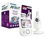 Philips Avent Video-Babyphone, 3,5 Zoll Farbdisplay, ECO-Mode, 10 Std. Akku, SCD630/26, weiß/grau