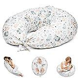 Stillkissen Schwangerschaftskissen zum Schlafen Seitenschläferkissen - Lagerungskissen für Baby XXL Pregnancy Pillow Oeko-Tex (A Weiß mit Eulen und Kaninchen)