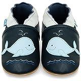 Juicy Bumbles - Weicher Leder Lauflernschuhe Krabbelschuhe Babyhausschuhe mit Wildledersohlen. Junge Mädchen Kleinkind- Gr. 6-12 Monate (Größe 20/21)- Blauwal