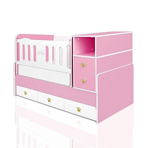 mitwachsendes babybett kleine prinzessin inkl wiege wickelkommode 5 schubladen. Black Bedroom Furniture Sets. Home Design Ideas