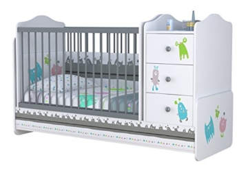babybett mit wickeltisch von polini kids kommode. Black Bedroom Furniture Sets. Home Design Ideas