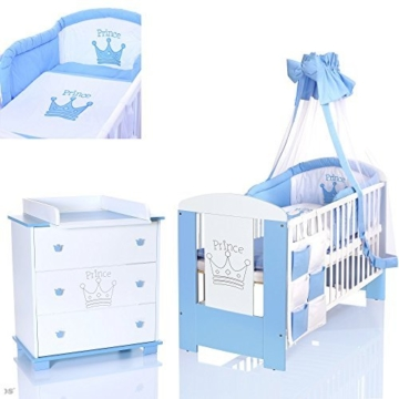 Babybett Wickelkommode Set Prinz Blau Heiabubude