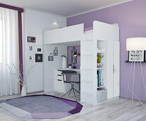 polini kids hochbett mit kleiderschrank und schreibtisch. Black Bedroom Furniture Sets. Home Design Ideas