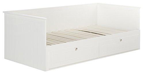roba tagesbett kojenbett zum doppelbett ausziehbares einzelbett in wei mit 2 schubladen. Black Bedroom Furniture Sets. Home Design Ideas