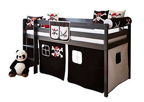 ticaa hochbett set malte inkl vorhang piratenbett. Black Bedroom Furniture Sets. Home Design Ideas